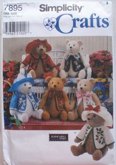 Elaine Heigl Craft Pattern - 18 Inch (45.5cm) Stuffed Teddy Bear and Clothes - Simplicity 7895, Uncut by Shelleyville on Etsy