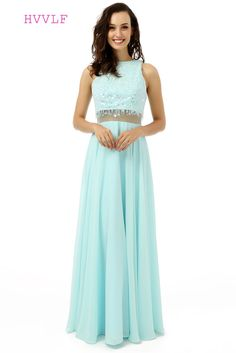 4a75d14f490 Two Pieces 2017 Prom Dresses A-line High Collar Chiffon Beaded Sequins  Turquoise Long Prom Gown Evening Dresses Evening Gown