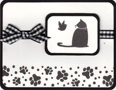 SU! C is for Cat stamp set.  The bird is from Stampendous Silhouette Kitties stamp set.