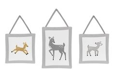 Grey Gold and White Forest Deer and Dandelion Girls or Boys Wall Hanging Accessories. Set of 3 Plush Wall hangings Measuring (2) 10in. x 10in. and (1) 10in. x 14in. Each wall hanging has ties that you can hang on a hook or nail. The plush handcrafted wall art hangings are great to add style to any nursery or child's bedroom. This design has matching accessories such as window treatments, hampers, shower curtains, memory photo boards, body pillow cases and decorative pillows.
