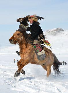 A 72 ans chasseur mongolien avec son aigle royal ... à cheval.  Si vous ne comprenez pas comment cela est dur à cuire, vous n'êtes pas en vie