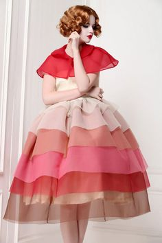 Little Red Riding Hood Gradient Tiered Dress by MyFairLady1950