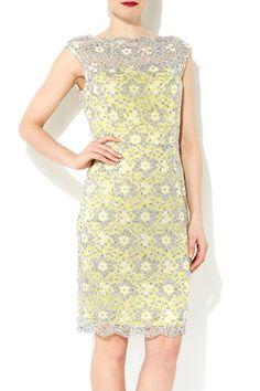 Yellow And Grey Lace Shift Dress