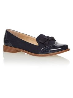 STYLE SLIPPER CUT BROGUE PATENT MICRO NAVY AW15 - Navy