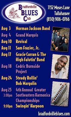 Bradfordville Blues Club Announces Full August #Blues Music Schedule w/ Norman Jackson Band, Grand Marquis, Revival, Sam Frazier Jr., Jr., Gracie Curran & The High Falutin' Band, Cedric Burnside Project, Bob Margolin, The 4th Annual Greater Southeastern Harmonica Championships and Swingin Harpoon.