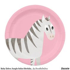 Baby Zebra Jungle Safari Birthday or Shower Paper Plate Paper Napkins, Paper Plates, Baby Zebra, Jungle Safari, Party Tableware, Biodegradable Products, Baby Shop, Doodle, Decorative Plates