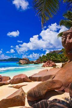 Beautiful beach in the Seychelles