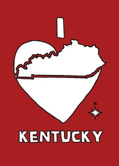 I love Kentucky - see more artwork & t-shirts at www.etsy.com/... and more things to do in Kentucky at www.discoverameri.... ©linedraw