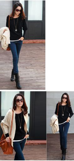 Popular Trendy Style Batwing Sleeve Top. Stylish casual fall outfit.