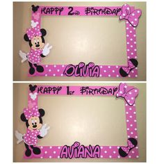 photo frame party prop Minnie mouse dark by titaspartycreations