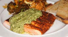 Grilled Ancho Crusted Coho Salmon with Poblano Pesto