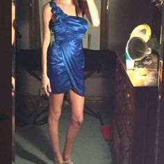 Blue small dress for dance or night out  One shoulder silky 3/4 dress! Fits small. Zipper in the back. Worn once. I can make a good deal for anyone who needs an affordable dress for a dance  Dresses One Shoulder