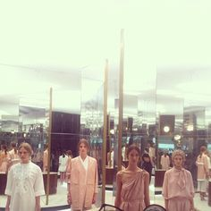 The models cum live mannequins after the Tod's SS14 runway show #mfw #fashionweek