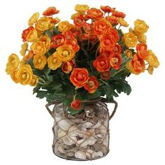 """Bring a natural-inspired touch to your home with this faux ranuncles arrangement, featuring seashell accents and a rope-wrapped glass vase.  Product: Faux floral arrangementConstruction Material: Shells, faux ranunculus, rope and glassColor: OrangeDimensions: 18"""" H x 20"""" DiameterNote: Suitable for indoor use only"""
