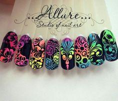 Neon Nail Art, Neon Nails, Acrylic Nail Art, 3d Nails, Cute Nails, Pretty Nails, Creative Nail Designs, Creative Nails, Nail Art Designs