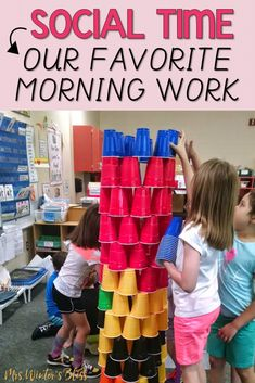 Time to ditch the morning work and start social time! My first grade students are much happier now that they have an opportunity to socialize and do fun morning tub activities. Ideas perfect for kindergarten, first grade, and second grade teachers looking to make a positive change in their day! #classroomcommunity #morningtubs #morningwork