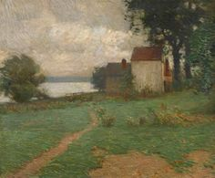 """""""Along the Delaware,"""" William Langson Lathrop, oil on canvas, 25 1/4 x 30 1/4"""", private collection."""