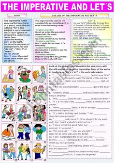 Form and use of the imperative followed by an exercise in which students have to look at the pictures and complete the sentences with the affirmative or negative imperative form of the verbs in brackets or English Idioms, English Lessons, English Grammar, Learn English, English Games, Adverbs Worksheet, Grammar Worksheets, Subject Verb Agreement, Subject And Verb
