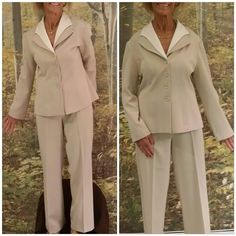 "40% BUNDLE DISCOUNT! FREE SHIPPING ON BUNDLES! Two pieces, button up, double collar has attached white collar so it looks like it is layer but is not a separate shirt, pull on elastic waist pants, mostly wrinkle free, light weight material, machine washable n the crease will last in the pants, 100% polyester. Model is size 6 8 but suit is a Lg, little bit big on model. ADD TO A BUNDLE! 40% BUNDLE DISCOUNT! FREE SHIPPING ON BUNDLES!! ""OFFER"" $6 LESS ON BUNDLES! Price firm unless Bundled. Only…"
