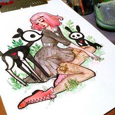 A piece I did for @skelanimals_ #watercolor #art #illustration…