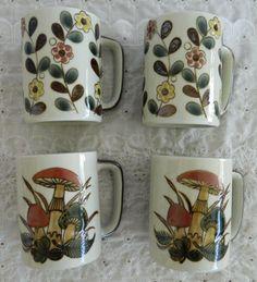 Vintage Otagiri Mushroom & Flower Design Coffee Mugs Rustic Stoneware #Otagiri