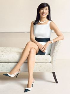 Elegant sitting pose, ensure your model is sitting straight up, relaxed but not slouched. Model: Andrea Jung