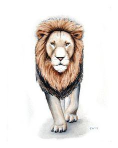 15% OFF SALE - Lion Watercolor Art - Lion 2 - Signed Art Print of my Watercolor Painting - home decor, nature art, kids, nursery art. $20.00, via Etsy.