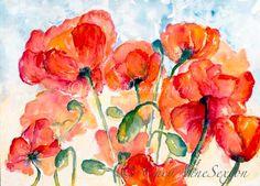 Flower Art Original Watercolour  SalmonOrange by CheyAnneSexton