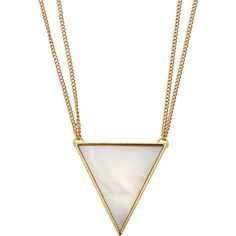 Panacea Golden Mother-of-Pearl Triangle Pendant Necklace ($20) ❤ liked on Polyvore featuring jewelry, necklaces, gold, pendant necklace, bezel set necklace, mother of pearl pendant necklace, rolo chain necklace and triangle necklace