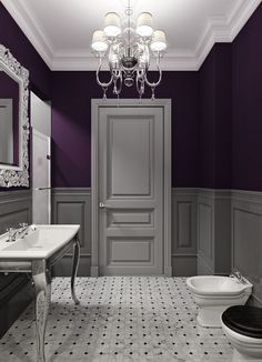 Attirant Bathroom Decor Ideas: Purple Paint And Chandelier