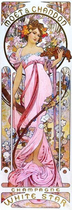 El recordado ilustrador checo Alphonse Mucha, en favor de Moet White Star.