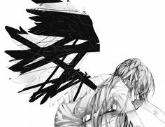 Back and white picture of a girl with wings.