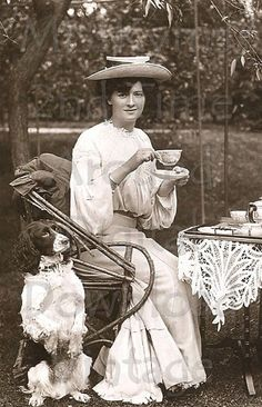Afternoon Tea Woman and Dog, Antique / Vintage Digital photo, by MsAlisEmporium on Etsy