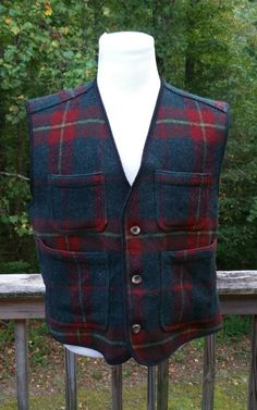 bb6ff7ffbc915 Details about WOOLRICH Mackinaw Wool Vest Size Large 1960s Vintage A1COND