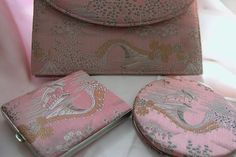 Purse - Compact - Cigarette Case - Set of Three Matching Pieces in Pink Taffeta 1950 - For Sale on Ruby Lane