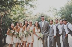 love a lot about this: girls dress with the leafy green bouquets, groomsmen rolled up sleeves, fun poses!