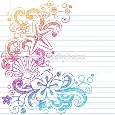 Sketchy Summer Tropical Hibiscus Flower Doodle Vector — Stock Vector #9127225
