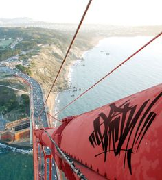 That had to be one heck of a gutsy graffiti artist to climb up there and do that.