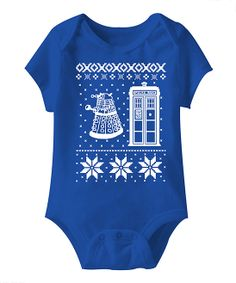 Royal Blue Christmas TARDIS Short-Sleeve Bodysuit - Infant