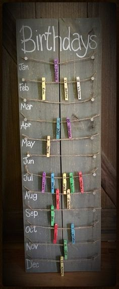 Birthday calendar board wall hanging with colored clothespins - Hand painted, NO. Hand Made , Birthday calendar board wall hanging with colored clothespins - Hand painted, NO. Birthday calendar board wall hanging with colored clothespins - Ha. Fun Diy Crafts, Home Crafts, Arts And Crafts, Handmade Crafts, Vinyl Diy, Birthday Calendar Board, Birthday Calendar Classroom, Wall Hanging Crafts, Diy Hanging