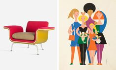 Girard made the home a joyous place at a time when design was all about reductionism and rationality. Pictured left: 'Armchair No. 66310', 1967, series production by Herman Miller Furniture Co. Photography: Jürgen Hans. Courtesy Vitra Design Museum. Right: 'Girls, Environmental Enrichment Panel # 3001', for Herman Miller, 1971. Courtesy Alexander Girard Estate/Vitra Design Museum