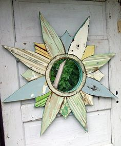 Sunburst Mirror, Reclaimed Wood Art, Starburst  Mirror, Salvaged Wood Mosaic Wall Art, Reclaimed Wood Mirror
