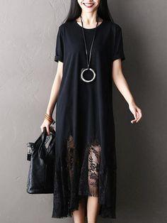 O-NEWE Casual Women Lace Patchwork Short Sleeve Long Dress - Banggood Mobile