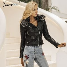 $75.98 - Cool Simplee Fashion fur collar basic jacket coat outerwear coats Streetwear black faux leather coat female PU leather jacket women - Buy it Now!
