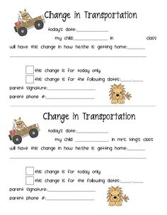 Change in Transportation  - I think I will put some of these in my students binders