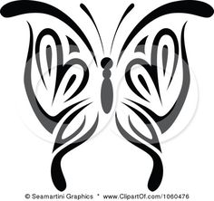 Royalty-Free Vector Clip Art Illustration of a Black And White Butterfly Logo - 4 by Seamartini Graphics