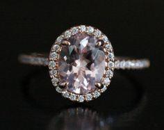 Pink Morganite Oval Engagement Ring Morganite by Twoperidotbirds