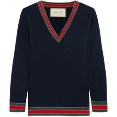 Gucci Striped wool sweater ($515) via Polyvore featuring tops, sweaters, midnight blue, colorful sweaters, striped top, stripe sweaters, multicolor sweater and blue striped top