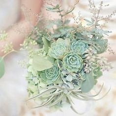All mint bouquet  made with airplants, succulents, seeded eucalyptus and hydrangea
