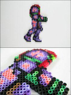 Super Metroid Samus gravity suit perler bead sprite by 8bitcraft on deviantART